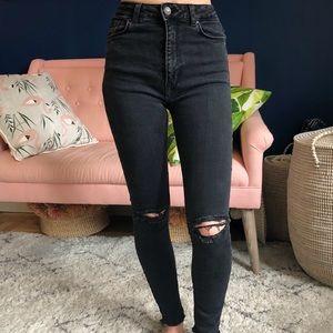 Zara High-Rise Distressed Skinny Jean Black